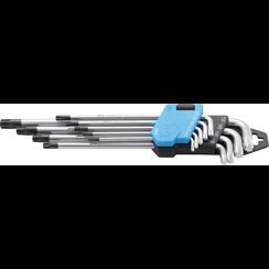 Stiftsleutelset  extra lang Torx met boring T10 - T50  9-dlg