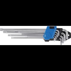 Stiftsleutelset  extra lang + extra kort Torx  T10 - T50  9-dlg
