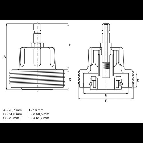 BGS  Technic Adapter 23 voor BGS 8027, 8098  voor VAG