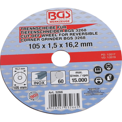 Doorslijpschijf voor BGS doorslijpmachine  Ø 105 x 1,5 x 16,2 mm