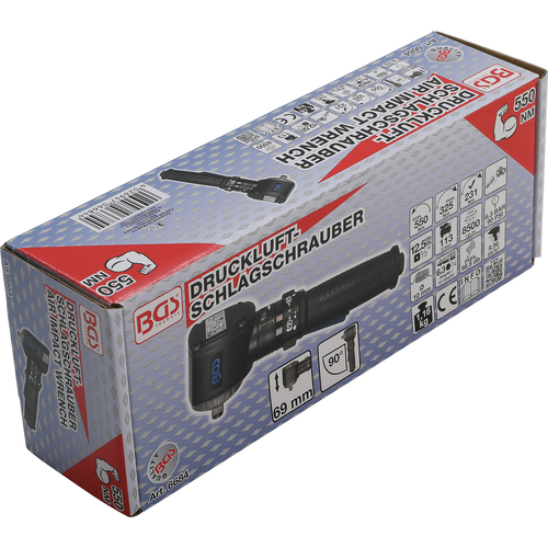 """BGS  Technic Air Impact Wrench  angled  12.5 mm (1/2"""")  550 Nm"""