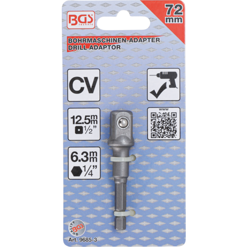 """BGS  Technic Adapter voor boormachines  aandrijving buitenzeskant 6,3 mm (1/4"""") / uitgaande buitenvierkant 12,5 mm (1/2"""")"""