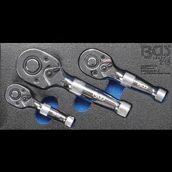 "Mini ratelsleutelset  6,3 mm (1/4"") / 10 mm (3/8"") / 12,5 mm (1/2"")  3-dlg"