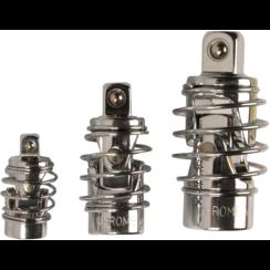 "Cardan adapterset  met veer  6,3 mm (1/4"") / 10 mm (3/8"") / 12,5 mm (1/2"")  3-dlg"