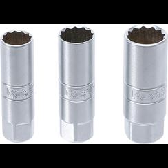 "Bougiedopsleutel-set twaalfkant  10 mm (3/8"")  14 - 16 - 18 mm  3-dlg."