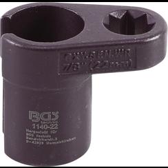 """Lambdasonde dopsleutel  gebogen  12,5 mm (1/2"""") dubbele 4-kant aandrijving 22 mm  gleuf 11 mm"""