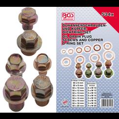 Oil Drain Plug Screws and Copper Seal Ring Assortment  534 pcs.