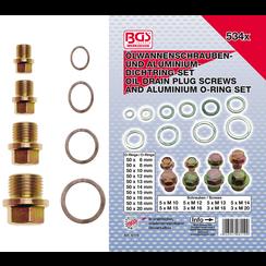Oil Drain Plug Screws and Aluminium Seal Ring Assortment  534 pcs.