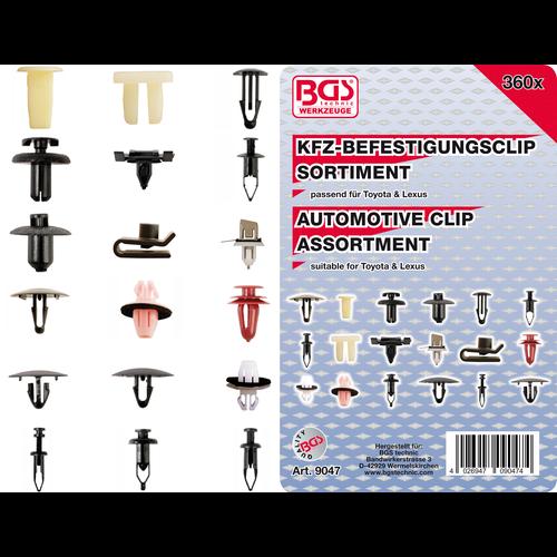BGS  Technic Automotive Clip Assortment for Toyota, Lexus  360 pcs.