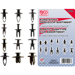 Plastic Push-Type Clip Assortment for Mazda, Honda, Ford, Nissan & VW  240 pcs.