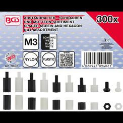 Afstandhouderschroeven en assortiment zeskantmoeren  Nylon  300-dlg