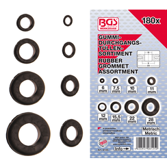 Assortiment doorvoertulen rubber  metrisch  180-dlg