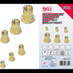 Rivet Nuts Assortment  Galvanized Steel  150 pcs.