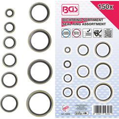 Seal Ring Assortment  Metal  with Rubber sealing Bead  150 pcs.