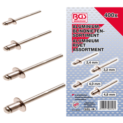 Popnagel assortiment  aluminium  2,4 - 4,8 mm  400-dlg