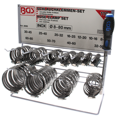 Hose Clamp Set  Stainless  on Display Board  111 pcs.