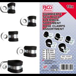 Hose Clamp Assortment, rubberized  Ø 6 - 16 mm  18 pcs.