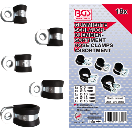 BGS  Technic Assortiment sok slangklemmen  Ø 6 - 16 mm  18-dlg