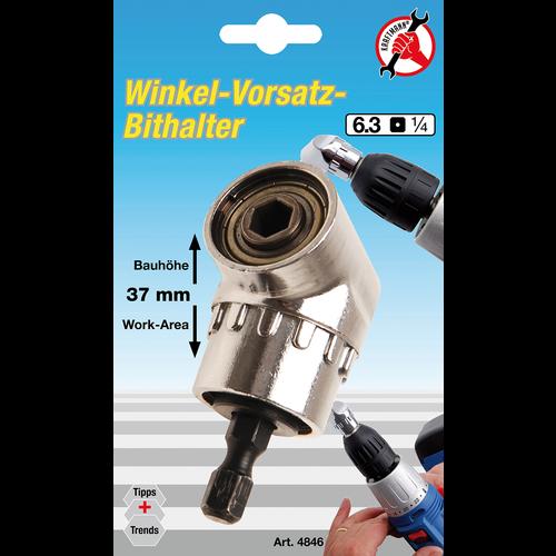 "Kraftmann Angled Bit Holder  6.3 mm (1/4"") Drive  internal Hexagon 6.3 mm (1/4"")"