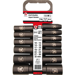 "Impact Socket Set  12.5 mm (1/2"") Drive  10-32 mm  13 pcs."