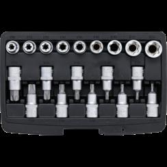 """Bit Socket / Socket Set  12.5 mm (1/2"""") Drive  T-Star (for Torx)/E-Type  19 pcs."""