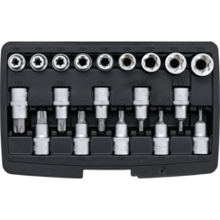 "Dopsleutelbit-/dopsleutelset  12,5 mm (1/2"") Torx/E-profiel  19-dlg"
