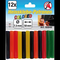 Lijmpatronen  gekleurd  Ø 7,5 mm, 50 mm  12-dlg