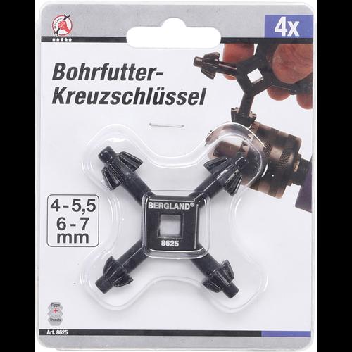 Kraftmann 4 Size Drill Chuck Wrench  for most chuck Sizes  Ø 4 / 5.5 / 6 / 7 mm