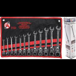 Ratchet Combination Wrench Set  flexible Heads  8 - 19 mm  12 pcs.