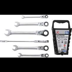 Ratchet Combination Wrench Set  flexible Heads  8-19 mm  6 pcs.