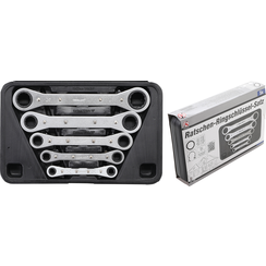 """Double Ended Ratchet Wrench Set, straight, reversible  Inch Sizes  1/4""""- 7/8""""  5 pcs."""