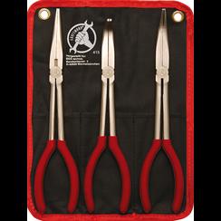 Long Nose Pliers Set  straight / bent  260 - 285 mm  3 pcs.