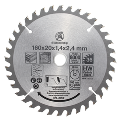 Carbide Tipped Circular Saw Blade  Ø 160 x 20 x 2.4 mm  36 teeth