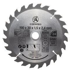 Carbide Tipped Circular Saw Blade  Ø 190 x 30 x 2.5 mm  24 teeth