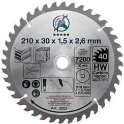 Carbide Tipped Circular Saw Blade  Ø 210 x 30 x 2.6 mm  40 teeth
