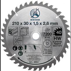 HM cirkelzaagblad  Ø 210 x 30 x 2,6 mm  40 tanden