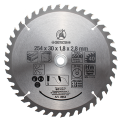 Carbide Tipped Circular Saw Blade  Ø 254 x 30 x 3.2 mm  40 teeth
