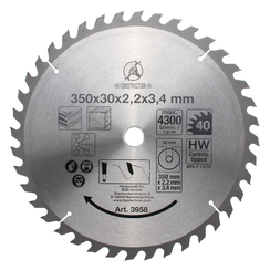 Carbide Tipped Circular Saw Blade  Ø 350 x 30 x 3.4 mm  40 teeth
