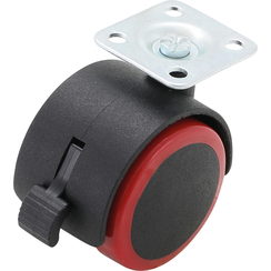 Double Castor Wheel with Brake  red/black  50 mm