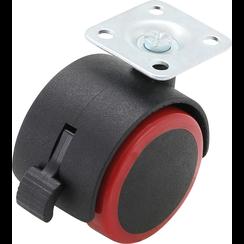 Zwenk-duowiel met rem  rood/zwart  50 mm