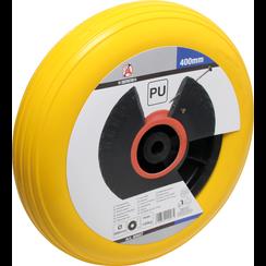 Kruiwagenwiel  PU, geel/zwart  400 mm