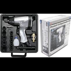 """Lucht slagmoersleutelset met dopsleutelset 9 - 27 mm  12,5 mm (1/2"""")  312 Nm  16-dlg"""