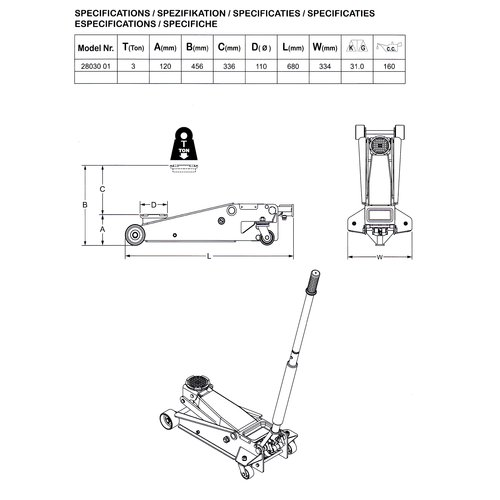 Omega Lift Equipment 3 Ton Low Service Jack  Omega 28030-PU