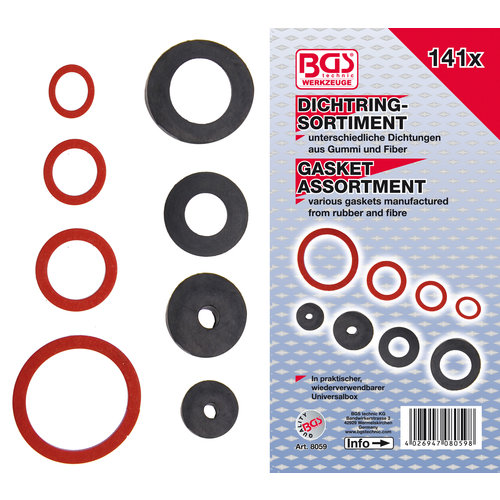 BGS  Technic Assortiment afsluitringen  rubber en glasvezel  141-dlg.