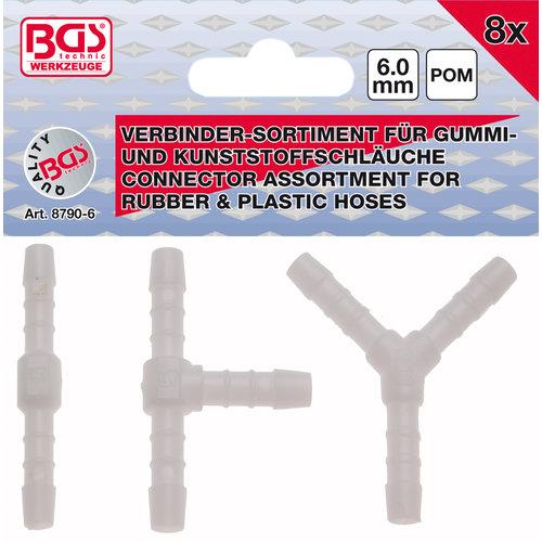 BGS  Technic Assortimenten slangverbinders  brandstofbestendig  6 mm  8 dlg.