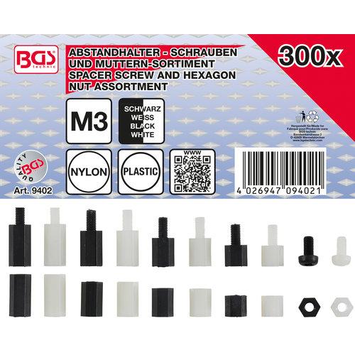 BGS  Technic Afstandhouderschroeven en assortiment zeskantmoeren  Nylon  300-dlg