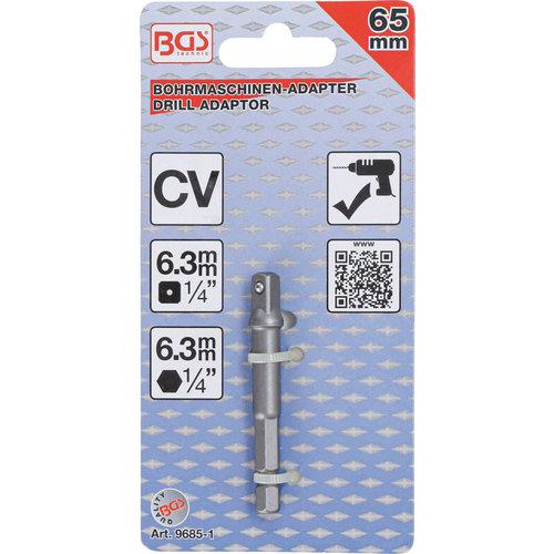 """BGS  Technic Adapter voor boormachines  aandrijving buitenzeskant 6,3 mm (1/4"""") / uitgaande buitenvierkant 6,3 mm (1/4"""")"""