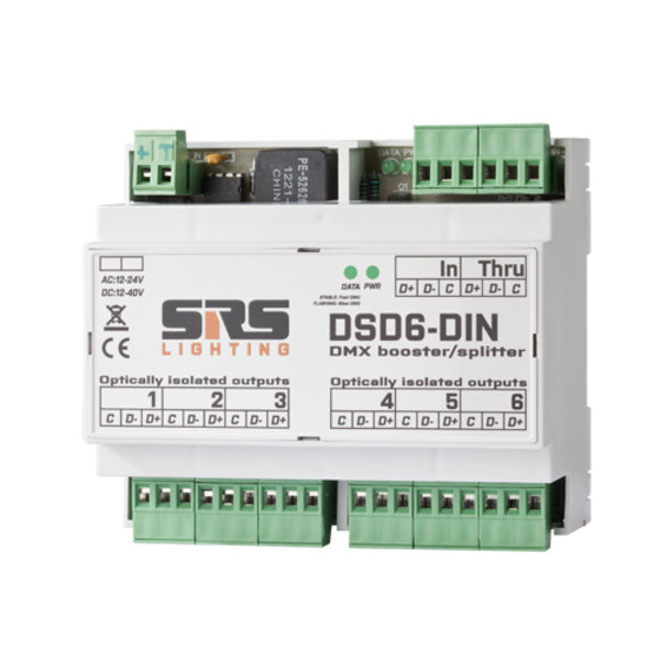 SRS-Lighting* DMX-splitter 6-kanaals DIN-Rail