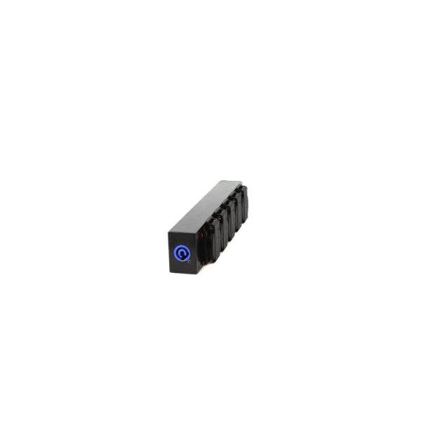 ModulAir* Aluminium verdeelblok 1x powerCON-in / 5x Schuko-uit, zwart, geassembleerd
