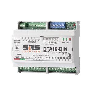 SRS-Lighting* DMX naar analoog converter DIN-rail